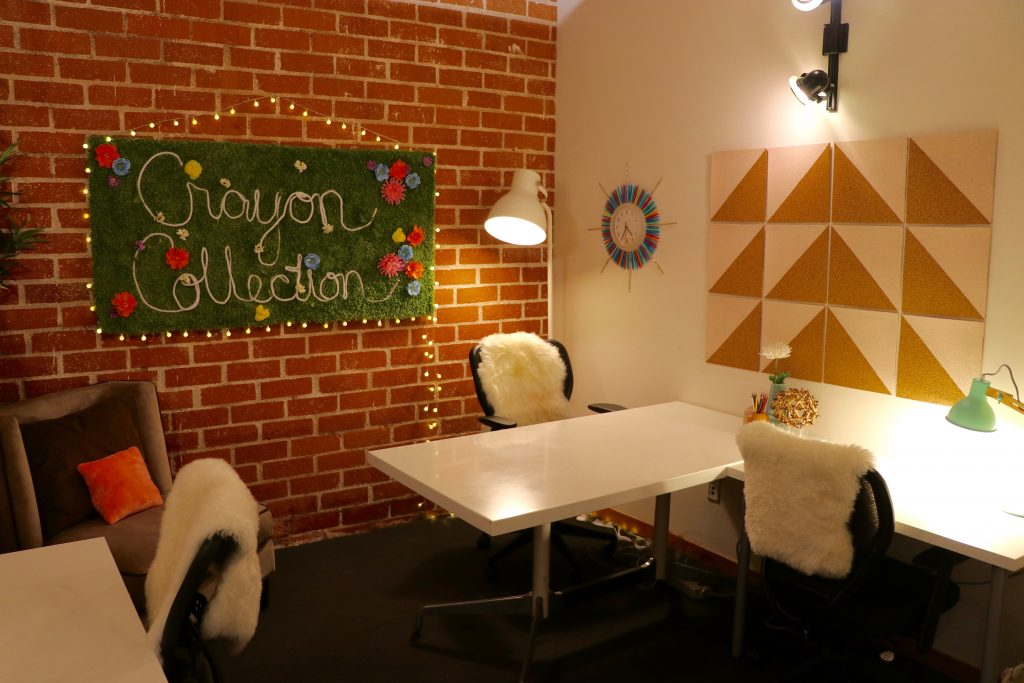 crayon collection, DIY, office makeover, herman miller, sunburst clock, non-profit, makeover