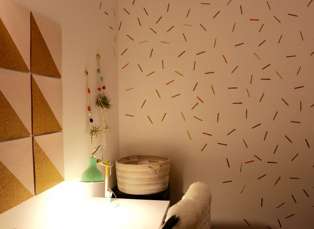 crayon collection, wall decals, office makeover, DIY, contact paper crafts