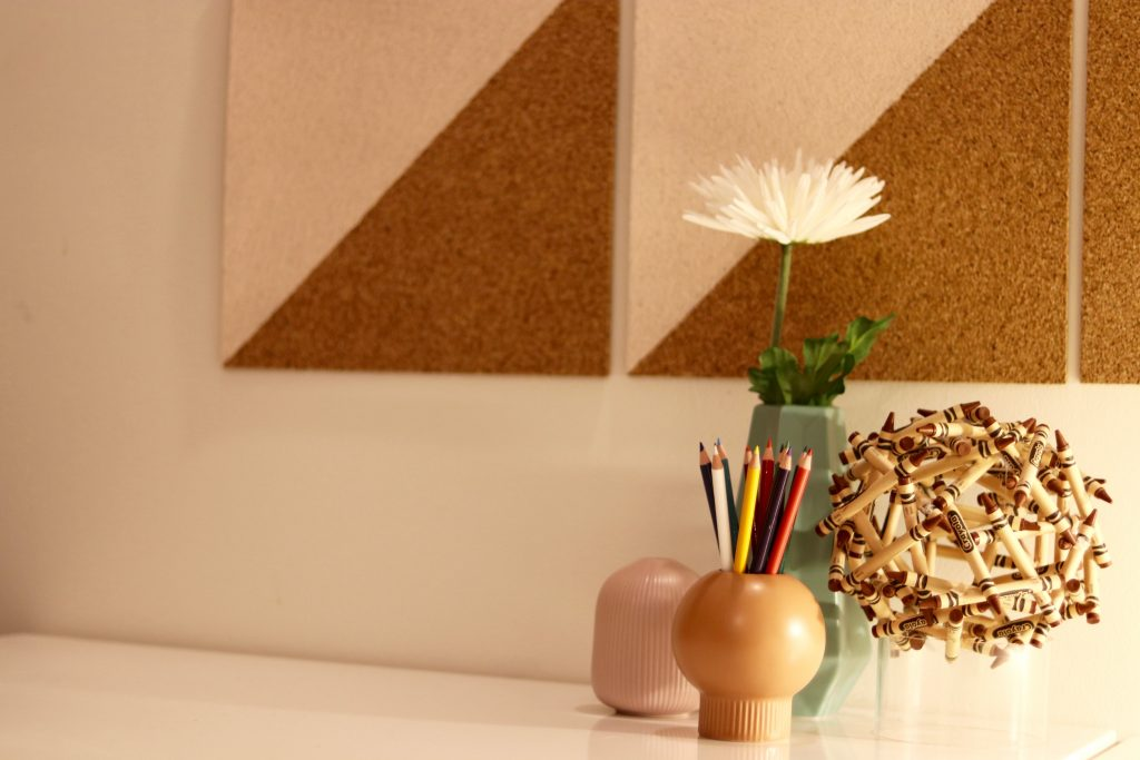 crayon collection, office makeover, DIY, zebra rug, cork tiles, benjamin moore paint,