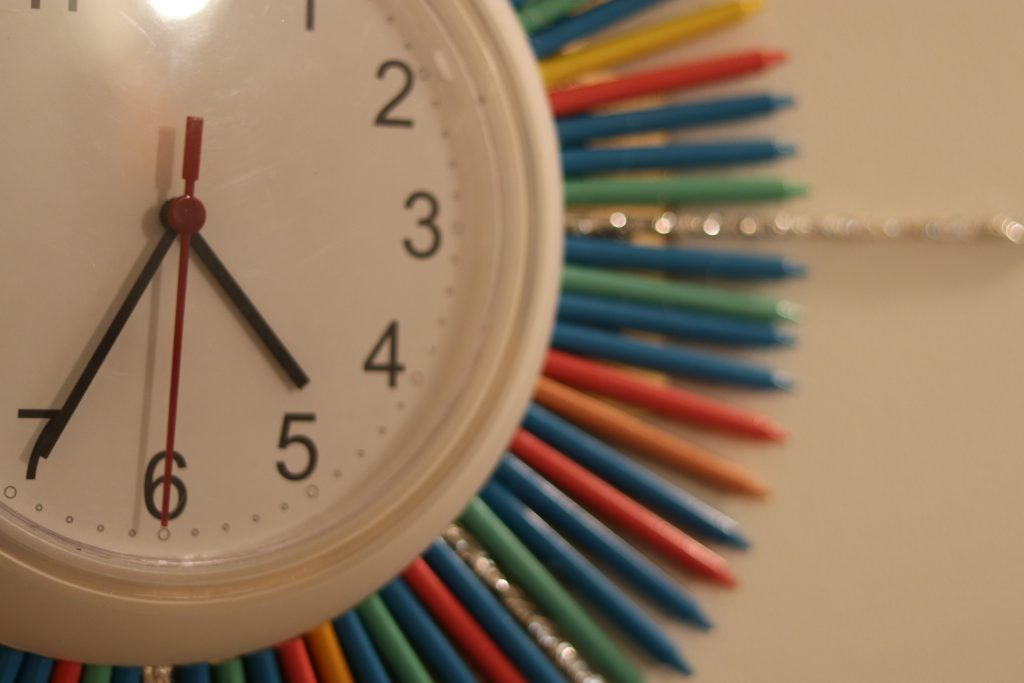 Crayon Collection, office makeover, DIY, design, sunburst clock, starburst